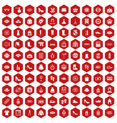 100 woman shopping icons hexagon red vector