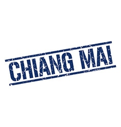 Chiang mai blue square stamp vector