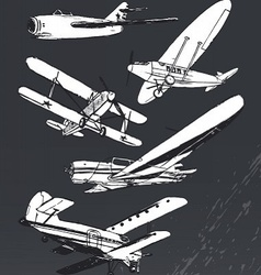 Soviet retro planes collection vector