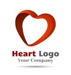 Colorful 3d volume logo design heart symbol icon vector