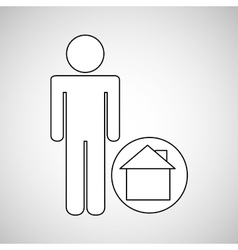 Home locate destination icon silhouette man vector