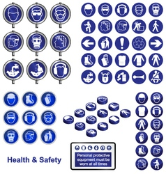 Health safety sign button set vector