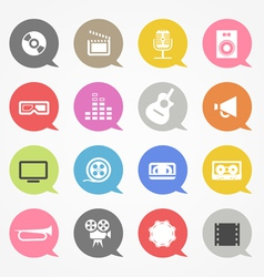 Media web icons set in color speech clouds vector