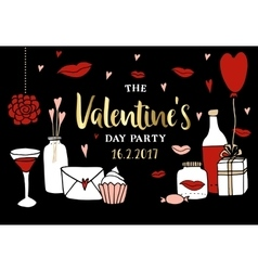 Valentines day party invitation doodle sketches vector