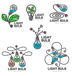 Set of colorful light bulb logo templates growth vector