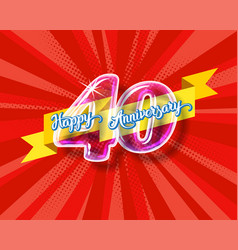 Happy 40th anniversary glass bulb numbers set vector