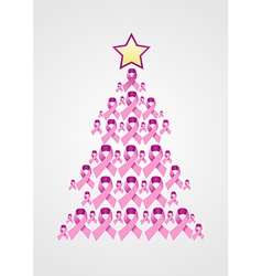 Breast cancer ribbon christmas tree vector