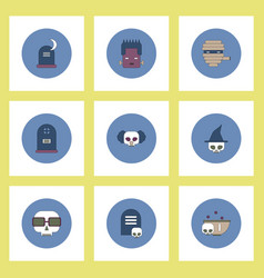 collection of icons in flat style halloween stuff vector image