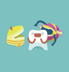 Monster candy bite tooth teeth and tooth concept vector