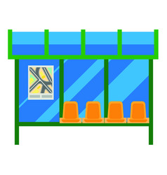 Modern bus stop with glass canopy and plastic vector