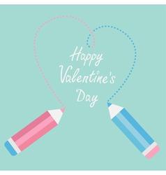 Two pencils drawing big dash heart Happy Valentine vector image