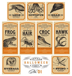 Funny vintage Halloween apothecary labels - set 01 vector image
