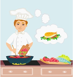 Cheerful chef cooks in the kitchen vector
