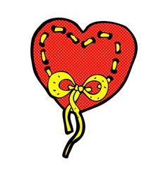 Stitched heart comic cartoon vector