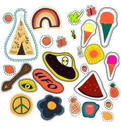 Hippie embroidery hand drawn patches collection vector