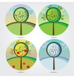 A tree in four different seasons vector image