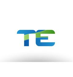 Blue green te t e alphabet letter logo vector
