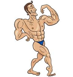 Bodybuilder cartoon character vector