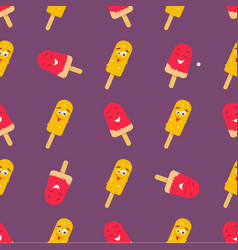 bright pattern with funny smiling ice-cream vector image
