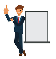 businessman showing thumb up cartoon flat vector image vector image