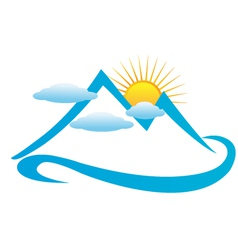 Cloudy mountains logo vector image vector image