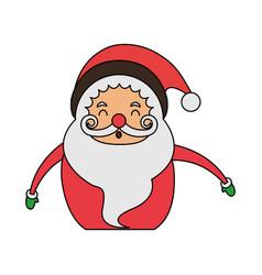 Color image cartoon half body fat santa claus vector
