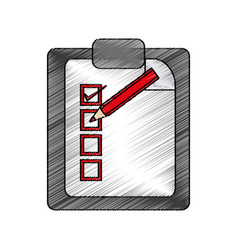 Color pencil report table icon with red pen vector