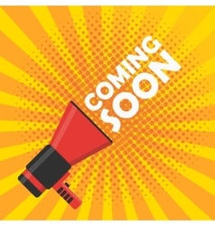 Coming soon banner Announcement megaphone vector image