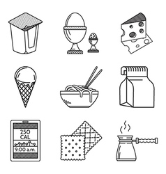 Diet food black line icons vector