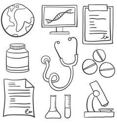 Doodle of medical object hand draw vector