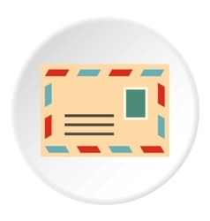 Envelope with stamp icon flat style vector