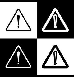 Exclamation danger sign flat style black vector