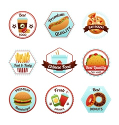 Fast Food Emblems vector image vector image