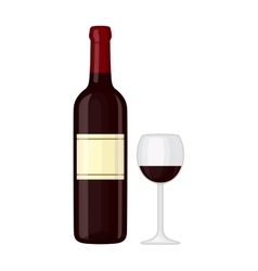Glass and bottle of wine vector image vector image