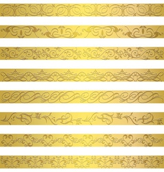 Gold element border designs vector