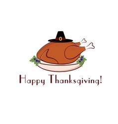 happy thanksgiving with turkey and pilgrim hat vector image