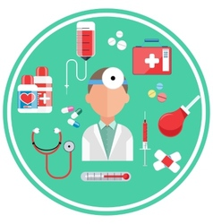 Hospital concept with item icons vector image vector image