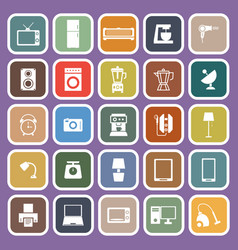 Household flat icons on purple background vector