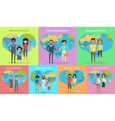 International relations banners set vector