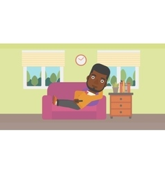 Man lying on sofa vector