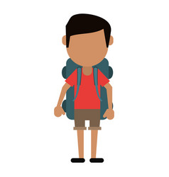 Man wearing short with backpack travel vector