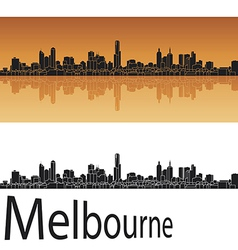 Melbourne skyline in orange background vector image vector image