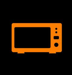 Microwave sign orange icon on black vector