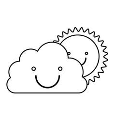Monochrome contour of smiling cloud with sun vector