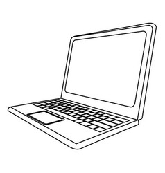 monochrome contour with laptop side view vector image vector image