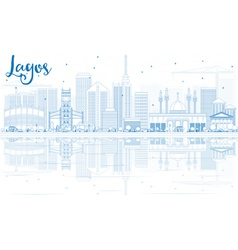 Outline lagos skyline with blue buildings vector