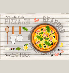 pizza seafood vector image vector image