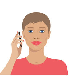 Portrait of woman talking on the mobile phone vector