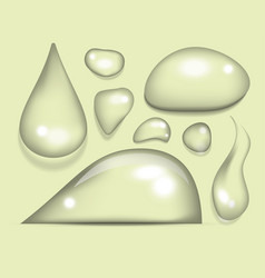 realistic water drops liquid transparent raindrop vector image vector image