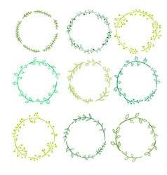 Round frames with doodle plants and twigs vector